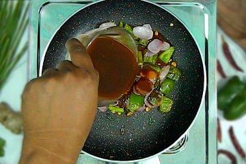 add chilli paneer sauce on pan