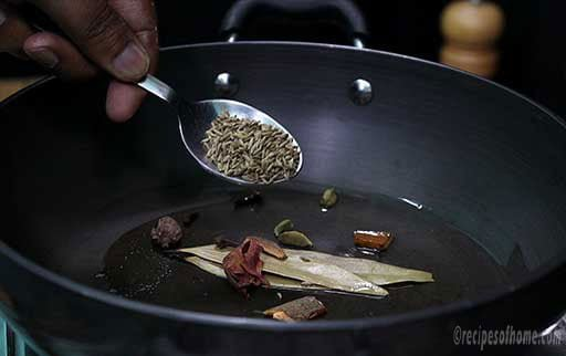fry whole spices in kadai