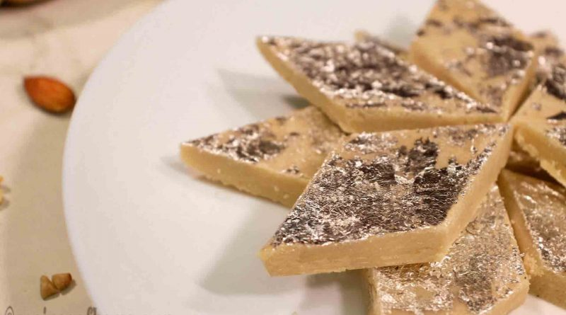 delicious-kaju-katli-recipe-serving-on-white-plate