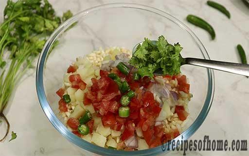 add chooped tomatoes,green chili,chopped coriander leaves