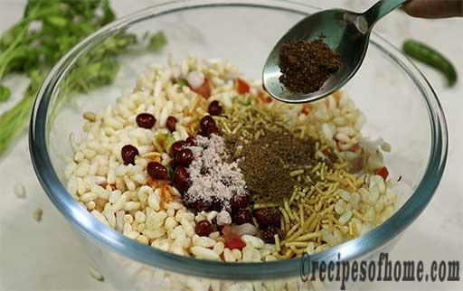 mix fried pea nut,roasted cumin powder,coriander powder,black salt and bhujia