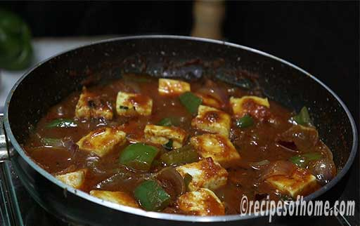 simmer fried paneer for some time