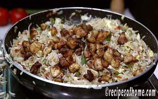 add fried chicken cubes