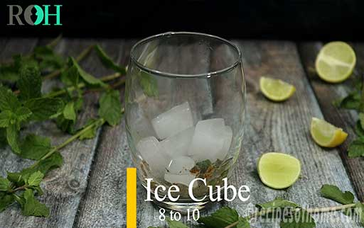 add ice cubes in glass