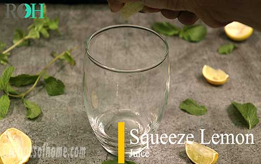 squeeze lemon juice in a glass