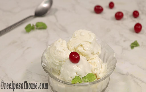 serve homemade vanilla ice cream with cherry