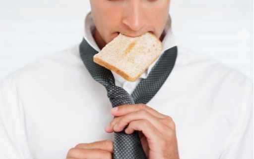 piece of bread in mouth